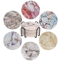 Strong Absorbent Ceramic Coasters Set w/ Holder & Cork Base For Wooden & Marble Stone Table Housewarming Gifts Ceramic in Gray/Red | Wayfair