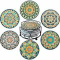 Absorbent Ceramic Stone Coaster Set w/ Metal Holder Stand Cork Base Cups Place Mats For Home Decor Floral Print Cork in Green   Wayfair ABS1c626c1