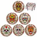 The Nightmare Before Coasters Skull Head Ceramic Coasters For Drink w/ Holder - Absorbent Stone Coasters w/ Cork Base,Prevent Furniture Ceramic