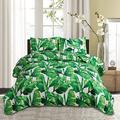 Bay Isle Home™ Leaves Quilt Set Bedding Twin Size Green Leaf Print Quilt Set For Bed Spring Summer Quilt Bedspread Reversible Bedding Tropical Plant Palm Leaves Cove