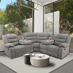 Latitude Run® Sectional Manual Recliner Living Room Set Polyester/Polyester Blend/Upholstery in Gray, Size 39.8 H x 79.5 W x 79.5 D in   Wayfair