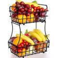 Prep & Savour 2-Tier Fruit Basket Metal Fruit Bowl Bread Baskets Detachable Fruit Holder Kitchen Storage Baskets Stand, Size 15.35 H x 12.0 D in