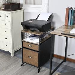 17 Stories Mobile File Cabinet, Office File Cabinet w/ Locking Wheels, Rolling File Cabinet w/ Open Shelf & 2 Drawers, For Legal/Letter/A4 File