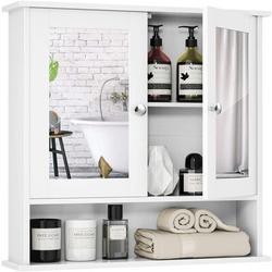 Ebern Designs Bathroom Cabinet Wall Mounted w/ Double Mirror Doors, Wood Hanging Cabinet w/ Doors & Shelves, Bathroom Wall Mirror Cabinet () Wood