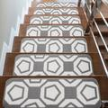 George Oliver Stair Treads Runner Mats - Non Slip Rug Pads For Indoor Outdoor Carpet - Pet Dog Stair Step Covers (Set Of 13, Geometric Grey) Wayfair