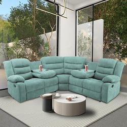 Latitude Run® Sectional Manual Recliner Living Room Set Polyester/Polyester Blend/Upholstery in Blue, Size 39.8 H x 79.5 W x 79.5 D in | Wayfair
