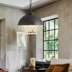 House of Hampton® Modern Industrial Crystal Chandelier Rustic Pendant Light Vintage Style Ceiling Lamps Simple Bowl Shape Design New Fashion Fixture