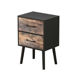 George Oliver Falconer Nightstand In Black,2 Drawers Night Stand Storage Wood in Brown/Green, Size 23.6 H x 15.7 W x 11.6 D in   Wayfair