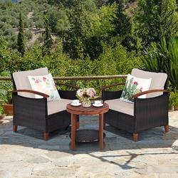 Andover Mills™ Eggen 3pcs Patio Wicker Rattan Conversation Set Outdoor Furniture Set W/Beige Cushion Wood/Natural Hardwoods/Wicker/Rattan   Wayfair