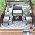 Beachcrest Home™ Estrada 4 Pieces Outdoor Furniture Rattan Chair & Table Patio Set Outdoor Sofa For Garden Wicker/Rattan in Brown | Wayfair