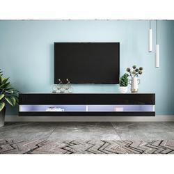 "Brayden Studio® 180 Wall Mounted Floating 80"" TV Stand/Large TV Stand/Flat Screen TV Cabinet, Living Room & Bedroom, 20 Color Leds Wood in Black"
