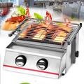 WPYCO Portable Stainless Steel Barbecue Grill/2 Burners/Outdoor Barbecue Cooker (Silver) in Gray, Size 7.68 H x 16.54 W x 13.98 D in | Wayfair