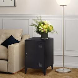 Williston Forge Night Stand METAL 1 DOOR CABINET in Black, Size 25.2 H x 15.75 W x 15.75 D in   Wayfair 1BAF569AF2824A85B00E0AB122FE6ABD