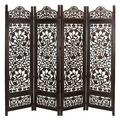 Canora Grey Handcrafted Wooden 4 Panel Room Divider Screen Featuring Lotus Pattern-Reversible in Black/Brown, Size 72.0 H x 80.0 W x 1.0 D in