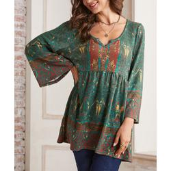 Suzanne Betro Weekend Women's Tunics 102OLIVE/MARIGOLD/RED - Olive & Marigold Abstract Bell-Sleeve Peasant Tunic - Women & Plus