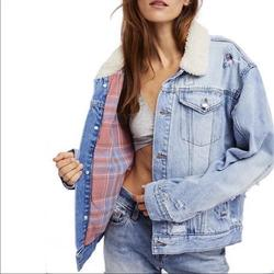 Free People Jackets & Coats | Free People Size Medium Lined Jean Jacket | Color: Blue/Pink | Size: M