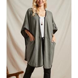 Suzanne Betro Women's Non-Denim Casual Jackets 101CHARCOAL/BLACK - Charcoal & Black Contrast-Trim Pocket Open Cape - Women & Plus