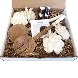 Global Crafts Kitchen Box Kit: Salad Servers, Napkin Rings, Salt & Pepper Set; Pack In Pizza Box, Brown Raffia, Maker Card   Wayfair