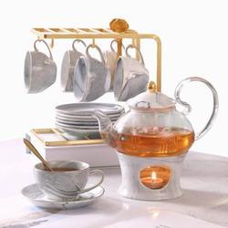 JGZ 21 Pcs Small Tea Set Of 6,Marble Texture w/ Handcraft Golden Trim, Fine Porcelain Tea Pot Set For Kids&Adults, 1 Glass Teapot(22Oz), 6 Cups(4Oz)