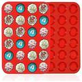 hodog2015 Premium Silicone Mini Muffin & Cupcake Baking Pan Large Non Stick 24 Cup Cookies Molds in Red   Wayfair F78NTD07B73KG6Q-01