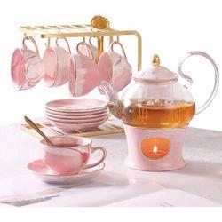 JGZ 21 Pcs Small Tea Set Of 6,Marble Texture w/ Handcraft Golden Trim, Fine Porcelain Tea Pot Set For Girls&Women, 1 Glass Teapot(22Oz), 6 Cups(4Oz)