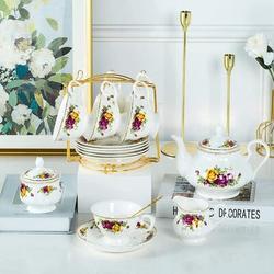 JGZ 22-Pieces Porcelain Bone China Tea Sets, Coffee Set,Cups,Saucer, Spoons, Teapot,Sugar Bowl,Creamer Pitcher & Golden Metal Rack For Home&Party