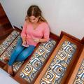 """LAKEKYD Stair Treads Carpet Non-Slip, Indoor Washable Anti Moving Safety Rug Cover w/ Anti-Slip Back For Wooden Steps, 8"""" X 30"""" (Blue & Brown"""