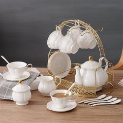 JGZ 15 Pieces Simple English Ceramic Tea Sets,Tea Pot,Bone China Cups w/ Metal Holder Matching Spoons,Afternoon Tea Set Service Coffee Set in White