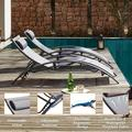KELIVOL SUMETURE Outdoor Patio Lounge Chair Set Of 2,Adjustable Chaise w/ Pillow,Lounge Chairs w/ 4 Adjustable Backrest Positions For Poolside,Garden