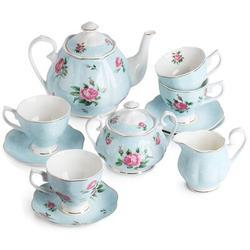 JGZ Floral Tea Set, Tea Cups (8Oz), Tea Pot (38Oz), Creamer & Sugar Set, Gift Box, China Tea Set, Tea Sets For Women, Tea Cups & Saucer Set in Blue