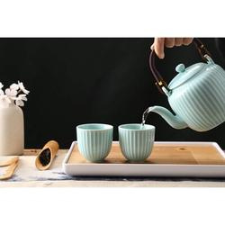 Rosecliff Heights Japanese Tea Set, Porcelain Tea Set w/ 1 Teapot Set, 6 Tea Cups, 1 Tea Tray, 1 Stainless Infuser, Size 4.7 H x 11.5 W x 11.5 D in