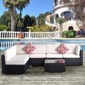 Latitude Run® Outdoor Wicker/rattan 4-seater 7-piece Set w/ Pillows & Coffee Table Wicker/Rattan in Brown/Red, Size 24.8 H x 25.6 W x 29.5 D in