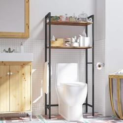Rebrilliant Toilet Storage Rack, 2-Tier Bathroom Space Saver w/ Hooks, Industrial Bathroom Over-The-Toilet Organizer Rack, Over-The-Toilet Cabinet