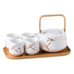 Everly Quinn Marble Porcelain Teapot Set, Modern Japanese Tea Pot w/ Infuser For Loose Tea (40 OZ) in White, Size 5.1 H x 6.7 W x 6.7 D in | Wayfair