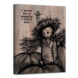 August Grove® Pumpkin Patch Scarecrow - Wrapped Canvas Graphic Art Canvas & Fabric in Brown/Pink, Size 16.0 H x 12.0 W x 1.0 D in | Wayfair