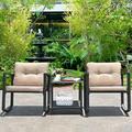 Harriet Bee 3 Pcs Patio Rattan Set Rocking Chair Cushioned Sofa Garden Furniture-Beige in Black/Brown/Green   Wayfair