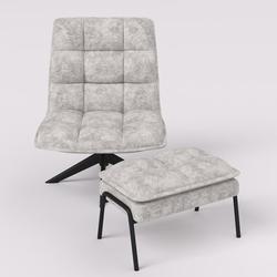 George Oliver Linen Accent Chair w/ Ottoman, Big Size, Soft & Comfortable, Tangerine Linen/Linen Blend in White/Brown | Wayfair