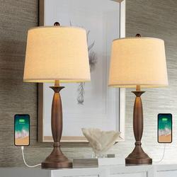 Canora Grey USB Table Lamp Modern Table Lamps Set Of 2 For Living Room w/ USB Charging Port Bedside Lamp Fabric Drum Shade Accent Lamp Light For Bedroom Metal/Fabric