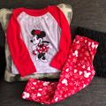 Disney Pajamas | Disney Minnie Mouse Holiday Matching Pjs Size 6 | Color: Gray/Red | Size: 6g