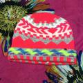 American Eagle Outfitters Accessories | American Eagle Neon Pink Pattern Beanie Hat | Color: Pink/White | Size: Os
