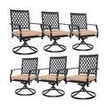 Patio Dining Chairs, 6 Pcs MEOOEM Outdoor Metal Swivel Rocker Chairs w/ Cushion, Furniture Set For Garden Backyard Bistro Metal in Black | Wayfair