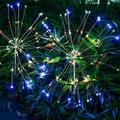 LamQee 120LED Outdoor Solar Firework Lights LED Starburst Lamp For Walkway BackyardSet Of 2 Metal/Steel in Gray, Size 27.5 H x 1.0 W x 1.0 D in
