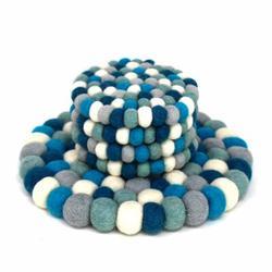 Global Crafts Christmas Felt Trivet & 4-Piece Coasters Set in Blue   Wayfair GLG50064-01S-S4-GWH