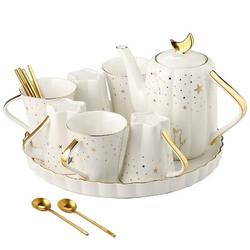 """JGZ """"Starry Moon"""" Ceramic Tea Set w/ Tea Pot,Coffee Cup Set w/ 6Oz Cups,Afternoon Tea Time Serving in White, Size 8.26 H x 9.05 W x 4.52 D in"""
