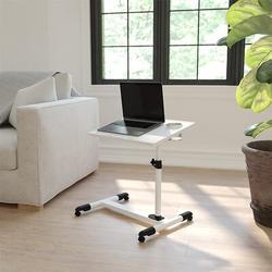 JIAQ Flash Furniture Adjustable Height Steel Mobile Computer Desk in White, Size 36.5 H x 22.5 W x 17.5 D in | Wayfair JIAQea84dbb
