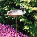 Red Barrel Studio® Country-Style, Leaf w/ Bird, Garden Stake Bird Bath, Cast Iron, 3 Feet 2 ½ Inches Tall Metal in Brown | Wayfair