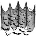 The Holiday Aisle® 4 Pieces Halloween Creepy Cloth 30 X 72 Inch Spooky Scary Polyester Gauze Cloth w/ 60 Pieces Halloween 3D Bat Sticker Decorations Party Supplies For
