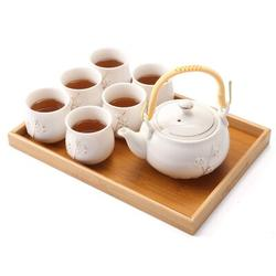 Red Barrel Studio® Japanese Tea Set, Tea Set w/ 1 Teapot Set, 6 Tea Cups, 1 Tea Tray, 1 Stainless Infuser in White, Size 4.5 H x 5.1 W x 5.1 D in