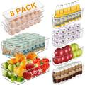 Rebrilliant Fridge Organizer Storage Bins Stackable Freezer Kitchen Containers w/ Handles BPA Clear Organization Fridge Stackable Organizer For Cabinet Drawer A
