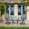 Red Barrel Studio® 3 Piece Outdoor Patio Bistro Set Metal Square Side Table & 2 Swivel Arm Chairs For Garden Backyard Black Metal in Black/Brown